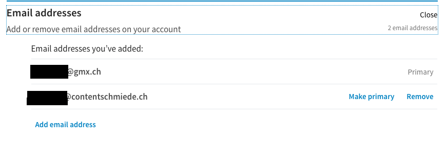 Screenshot E-Mail-Adressenverwaltung auf LinkedIn